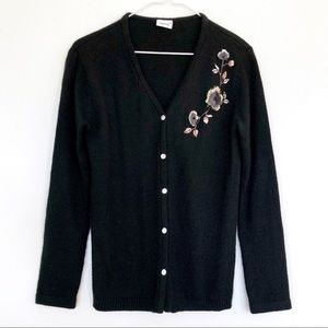 VINTAGE Floral Embroidered Knit Cardigan